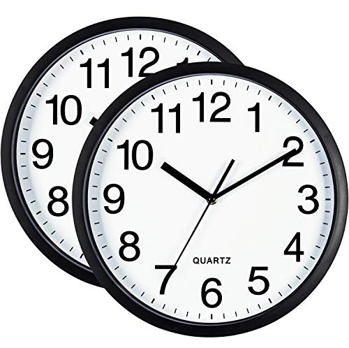 Bernhard Products Black Wall Clock Silent Non Ticking Quality Quartz Battery Operated Round Easy to Read Home/Office/Classroom/School Clock 2 Pack