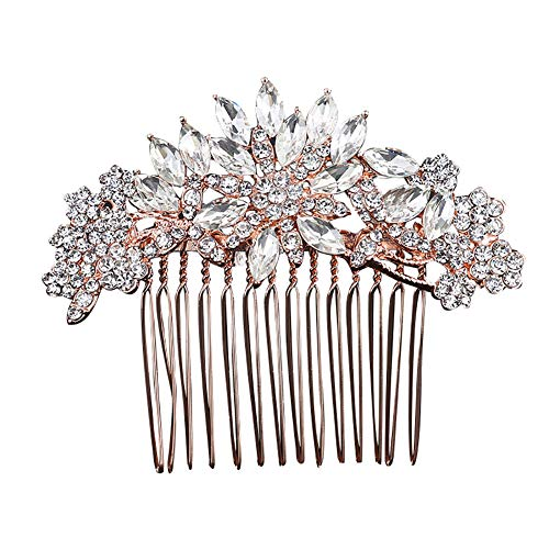Homeofying Mode Floral Peigne à cheveux Full Strass Pince à cheveux mariage Headwear