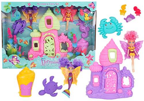 Toyland® Mermaid & Fairy Spielset mit Puppen, Schloss & Zubehör
