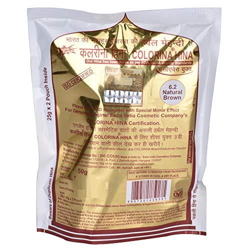 Colorina Hina Gujrati Herbal Henna Powder, Natural Brown 6.2, 50g (Pack of 5) | Colors Hair not Skin