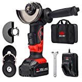 NoCry 20V 115mm Cordless Angle Grinder - 10,000 RPM Max Speed; 4.0 Ah Lithium Ion Battery, Fast Charger, Carrying Case and 7 Accessories Included