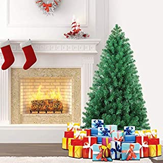 SHareconn 4.5 ft Unlit Premium Artificial Spruce Hinged Xmas Christmas Tree with 600 Branch Tips and Metal Stand