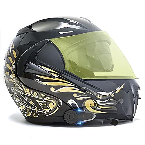 Casco modular Bluetooth integrado, casco de motocicleta con certificación ECE/DOT, función de llamada instantánea para 2-3 personas, viajes en Four Seasons, Wings of Freedom 3,XS