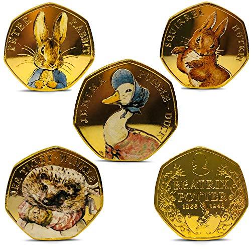 Beatrix Potter Juego completo sin circular 2016 24ct chapado en oro 50p monedas set completo 50p peniques Jemima Puddleduck Peter Rabbit x5 monedas