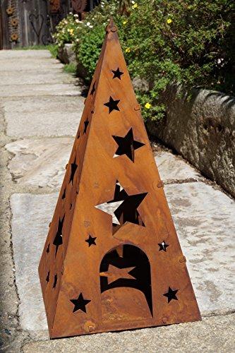 Rostalgie Edelrost Windlicht Pyramide Sterne groß H60cm, inkl. Herz 8x6cm Weihnachten Gartendekoration Laterne Advent-1 Stück