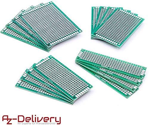 AZDelivery Set 16 x PCB Circuit Board Breadboard PCB Millefori Scheda Prototipazione per progetti fai da te e per Arduino con eBook