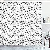 ABAKUHAUS High Heels Duschvorhang, Simplistic Frau Schuhe, Digital auf Stoff Bedruckt inkl.12 Haken Farbfest Wasser Bakterie Resistent, 175x180 cm, Charcoal Grey Pale Grau