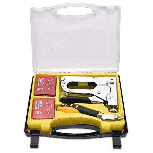 WOLFWILL Grapadora Manual 3 en1 Grapadora Profesional Grapadora de Alta Resistencia con 3 Tipos de Uñas para Bricolaje, Tapicería, Material de Fijación, Carpintería, Muebles, Suministros de Oficina