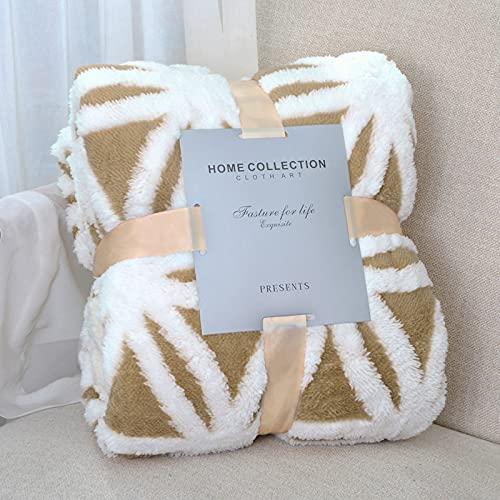 LOMAO Decke Sofa Kuscheldecke-Flauschige Sherpa Kuscheldecke hochwertige Wohndecke, super weiche Fleecedecke als Sofaüberwurf Tagesdecke oder Wohnzimmerdecke (Khaki, 130*160cm)