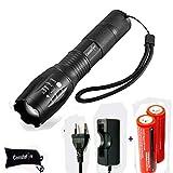 Linternas, Ultra Brillante LED Linterna (XML T6,1200 LM,5 Modos,Zoom, Resistente al Agua) Táctica LED Antorcha Lámpara con 2PCS 18650 batería Recargable y Cargador