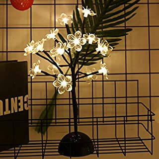 Lxcom Cherry Blossom Desk Top Bonsai Tree Light 0.36M/14Inch 24LEDs Cherry Blossom Tree Table Lamp Black Branches Battery Powered for Christmas Party Wedding Office Home, Warm White