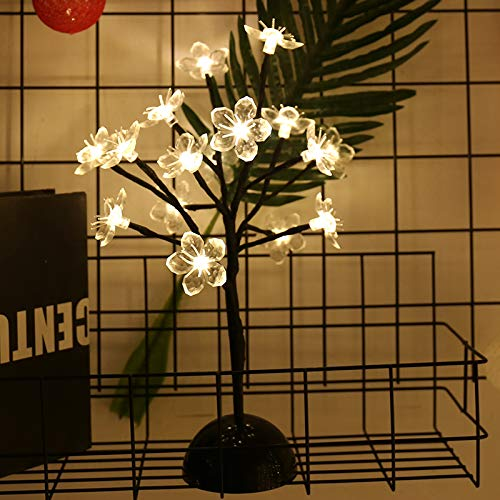 Lxcom Lighting Cherry Blossom Desk Top Bonsai Tree Light 0.36M/14Inch 24LEDs Cherry Blossom Tree Table Lamp Black Branches Battery Powered for Christmas Party Wedding Office Home, Warm White
