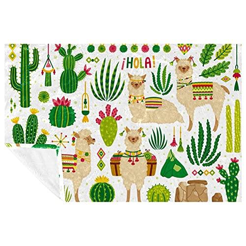 BestIdeas Kaktus-Alpaka-Aufdruck, weich, warm, gemütlich, Überwurf für Bett, Couch, Sofa, Picknick, Camping, Strand, 150 x 100 cm
