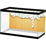 Food Decor Fish Tank Poster Cartoon Like Image of and Melting Ice Cream Cones Colored Sprinkles Art Print PVC Fish Tank Background Adhesive Multicolor L36 X H24 Inch