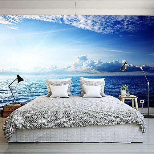 muurschildering muur Muralscustom behang aangepast grote 3D muurschildering oceaan wit wolk blauwe hemel achter tv bank bed achtergrond in de levende naadloze video muur Scenery 430 * 300cm
