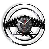 MASERTT Reloj de Pared con Disco de Vinilo Inspirado en ala Delta, Deportes de Cielo Extremo, diseño Vintage, Reloj de Pared Iluminado, decoración Interior