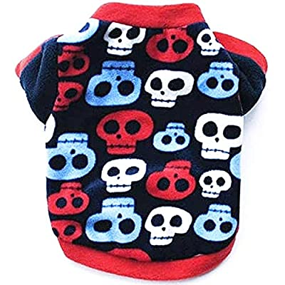 """Pretty Pampered Pets XXXS XXS XS Small Tiny New Teacup Chihuahua Clothes Clothing Puppy Dog Toy Breeds Hoodie Black Red Skulls Cosy Coat (Medium- 12"""", Red/Blue/Navy)"""