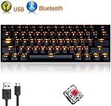 UrChoiceLtd Mécanique Clavier, RK61 Câblé / Sans fil Bluetooth Clavier 61 touches USB Imperméable Gaming Clavier, avec Anti-ghost Clés et Extracteur de bouchon pour Gamers (Interrupteur noir / rouge)