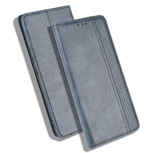 HAOTIAN Hülle für Motorola Moto G Pro, Retro Premium PU Leder Flip Schutzhülle, Leder Klapphülle Slim Lederhülle mit Standfunktion und Kartenfach TPU Innenraum Hülle Handyhülle, Blau