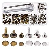 Remaches Tapa única Remache Tubular Espárragos metálicos con kit de herramientas de fijación para reparaciones artesanales de cuero Decoración, 3 tamaños, 60 juegos (Multicol