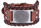 TEAMER Norse Vikings Runes Amulet Leather Bracelet Icelandic Vegvisir Symbol for Luck and Blessings (Antique Silver,Brown)