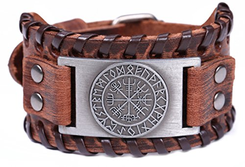 Lemegeton - pulseras de cuero anchas para hombres, brújula vikinga Vegvisir, runas nórdicas, vintage