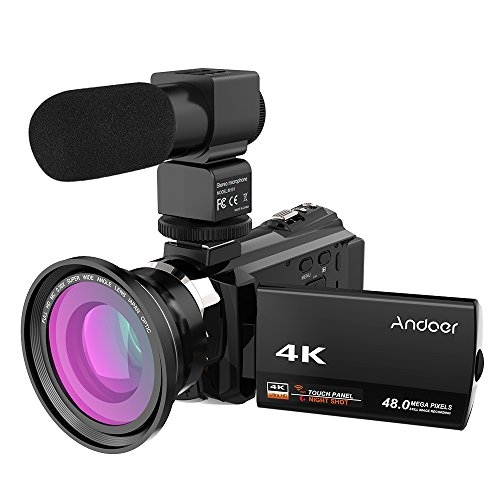 Andoer Videocámara, 4K 1080P 48MP WiFi Cámara de Video Digital Vlogging Youtube Cámara Táctil Capacitiva IR Visión Nocturna Infrarroja 16X Zoom DigitalWebcámara, con Micrófono Externo Novatek 96660