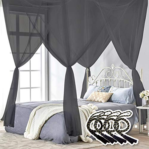 TRUEDAYS Four Corner Post Bed Princess Canopy Mosquito Net, Full/Queen/King Size, Black