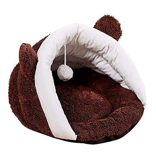 ODJOY-FAN Zwinger Haustierbett Katzennest Haustiermatte Hundekäfig Katzenschlafsack Haustier Weich Warm Nest Kennel Bett Höhle Haus Schlafen Tasche Matte Pad Zelt(Brown,1 PC)