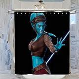 Trelemek Aayla Secura Star Wars - Cortina de ducha (183 x 183 cm, impermeable, con 12 ganchos de plástico, lavable, 183 x 183 cm)