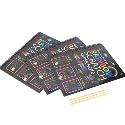 DAUERHAFT Seguro e Inodoro, Tarjeta de Papel de rascar de 3 Piezas, para Que los niños mejoren Sus Habilidades de Dibujo, Notas mágicas de Papel de rascar