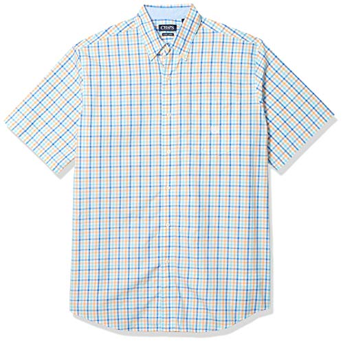 Chaps Men's Big and Tall Short Sleeve Easy Care Button Down Shirt, Key West Orange Multi, 2XLT