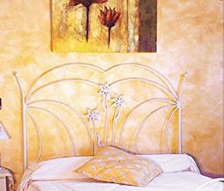 Hogares con Estilo - Cabecero Descuento del 50%. De forja Nacional Modelo París, Color Blanco-Oro para Cama de 105 cms, Medidas Disponibles.