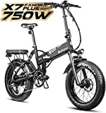 Eahora X7 Plus 750W Fat Tires Folding Electric Bike Full Suspension Hydraulic Brakes 48V Electric Bikes for Adults with Electric Lock, Power Regeneration System 8 Speed Gears