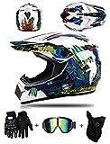 ZLCC Casco Motocross Niño - Forro Extraíble, Casco de Cross con Gafas Máscara Guantes para Moto MX Quad Enduro Off Road ATV Scooter (B-06,S: 52-56 cm)