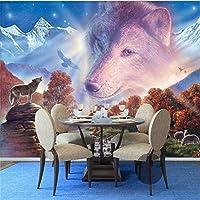 RTYUIHN 3D壁紙漫画オオカミの頭の世界のリビングルームの寝室3D子供部屋の壁雪の森の空現代の壁アートの装飾