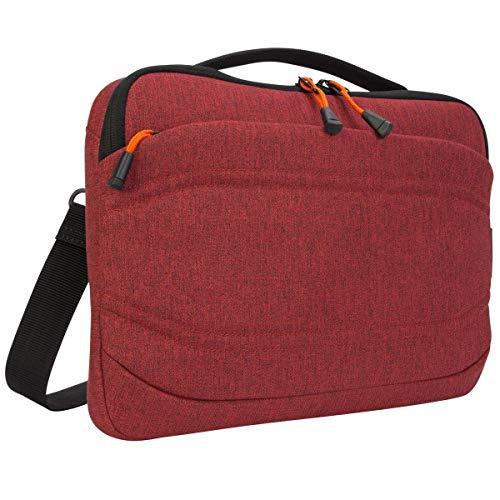Targus Groove X2 schmale Tasche, vielseitige Laptoptasche 13 Zoll, wasserabweisende Umhängetasche für Notebooks, ideal für Uni und Büro – Dunkelrot, TSS97902GL