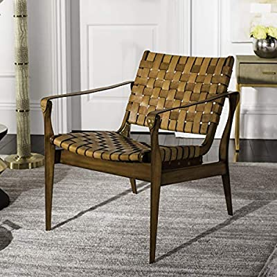 Safavieh Couture Home Dilan Brown Leather Weave and Light Brown Safari Accent Chair - This accent chair will add a fresh look to any room Crafted with genuine top grain leather and mahogany wood Designer woven accent details for a stunning boho desert vibe - living-room-furniture, living-room, accent-chairs - 51C2sMiN4mL. SS400  -