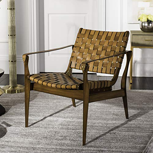 Safavieh Couture Home Dilan Brown Leather Weave and Light Brown Safari Accent Chair