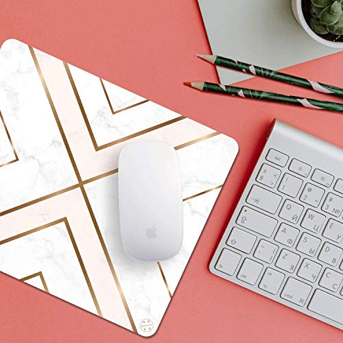 Oriday Gaming Mouse Pad Custom, Modern Gold Cross Line Design for Women Non-Slip Rubber Thick Mouse Pad for Computers Laptop (Chic White) Photo #3