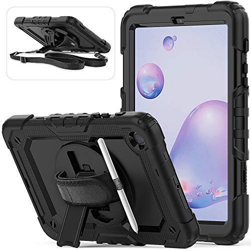 Samsung Galaxy Tab A 8.4 Case 2020 with Pencil Holder Screen Protector | Herize SM-T307 Case | 3 Layer Heavy Duty Rugged Shockproof Silicone Protection Case with Hand Strap Shoulder Strap | Black
