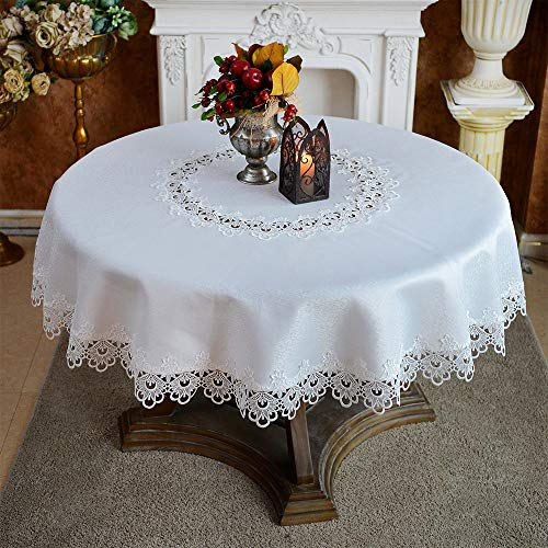 ARTABLE Round Tablecloth Lace Rustic Macrame Embroidered Table Cloths for Harvest Dresser Decor Farmhouse Kitchen Home (Offwhite, 70' Round)