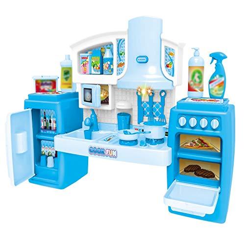 Soaying Cooking Toys Set Music Pretend Accessories Kitchen Toys Set Kitchen Game Utensilios de Cocina Set para NiiOs - Azul