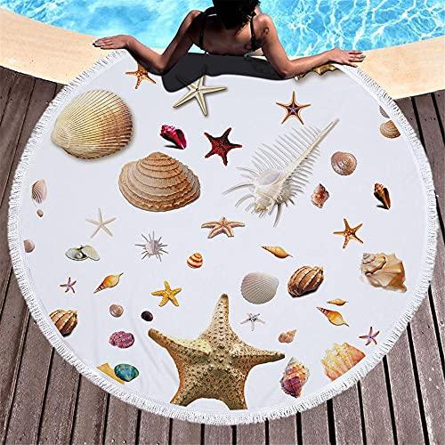 Diámetro Alrededor de 150 cm Estrella Crack Seashell Piedra de Goldfish Patrón Simple Fashion Fácil Limpieza Toalla de Playa Redonda Suave-C1 Super Absorbente y Toallas de natación