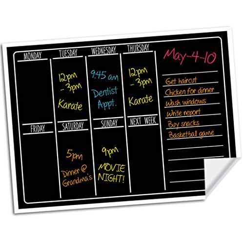 "Dry Erase Chalkboard Wall Calendar - 15"" x 11"" - Refrigerator Home & Kitchen Sticker Menu Board - Non Magnetic Reusable Chalk Board Vinyl Decal - Black Fluorescent Custom Weekly Calendar Planner"