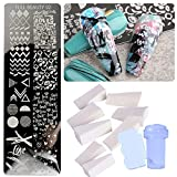 CACAZI Kit de estampación de uñas DIY profesional Nail Art Placas Set Nail Stamping Kit Plantillas de uñas Kit de manicura