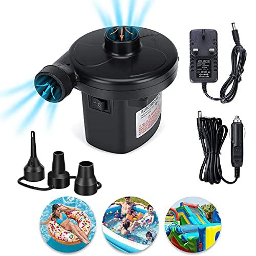 Bomba de aire eléctrica para camping, inflador/desinflador para colchones de aire, barcos, remos y piscinas, con 3 boquillas CA 110-240 V y CC 12 V/50 W