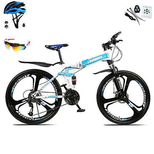 AI-QX 26 Zoll Mountainbike, geeignet ab 150 cm, Scheibenbremse, 30 Gang-Schaltung, Vollfederung, Jungen-Fahrrad & Herren-Fahrrad,Blau