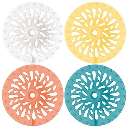 AvoDovA 4 Pezzi Filtro per Lavello in Silicone, Coperchi di Scarico per Doccia, filtro per capelli, protezione del drenaggio universale per Cucina Bagno e Vasca da Bagno, 10 x 10 x 1cm