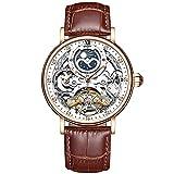 RORIOS Hombre Reloj Impermeables Automáticos Mecánicos Relojes con Correa en Cuero Esqueleto De Fase Lunar Reloj Negocios Reloj para Hombre